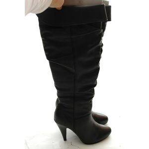 NEW Slouch Leather Knee High Boots High Heel 36 6